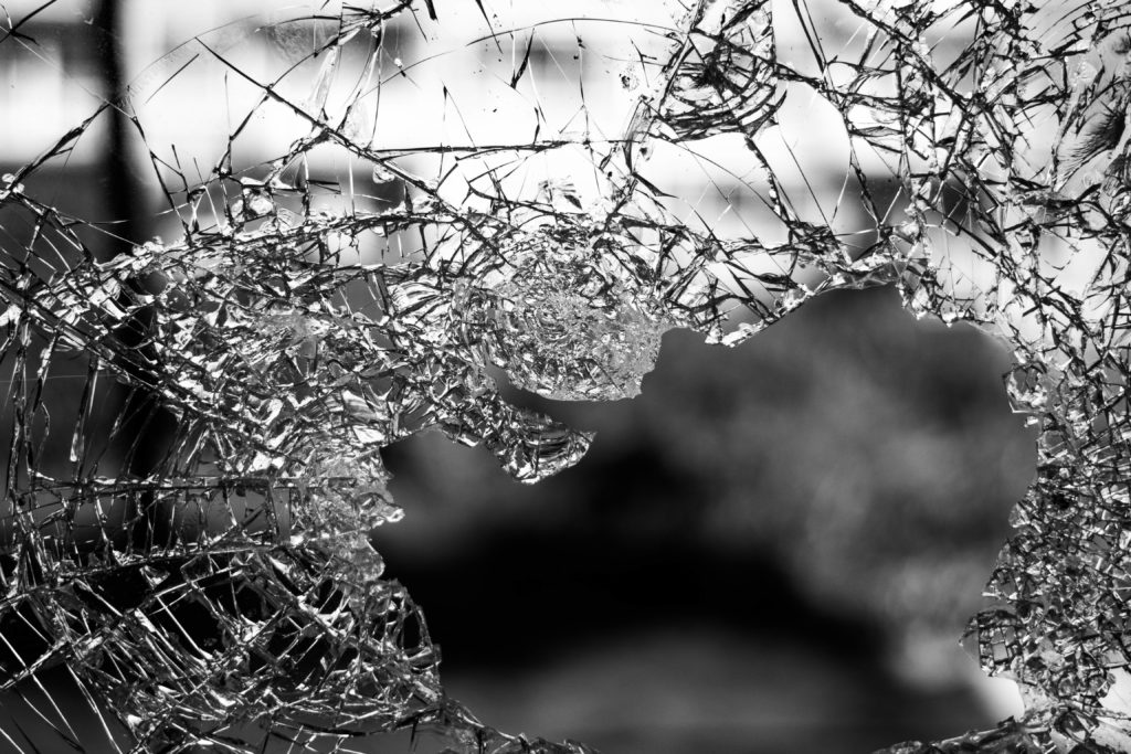 glass, shattered, window